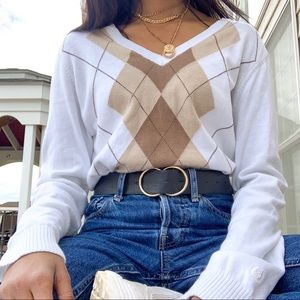 White and Tan Plaid V-neck Sweater